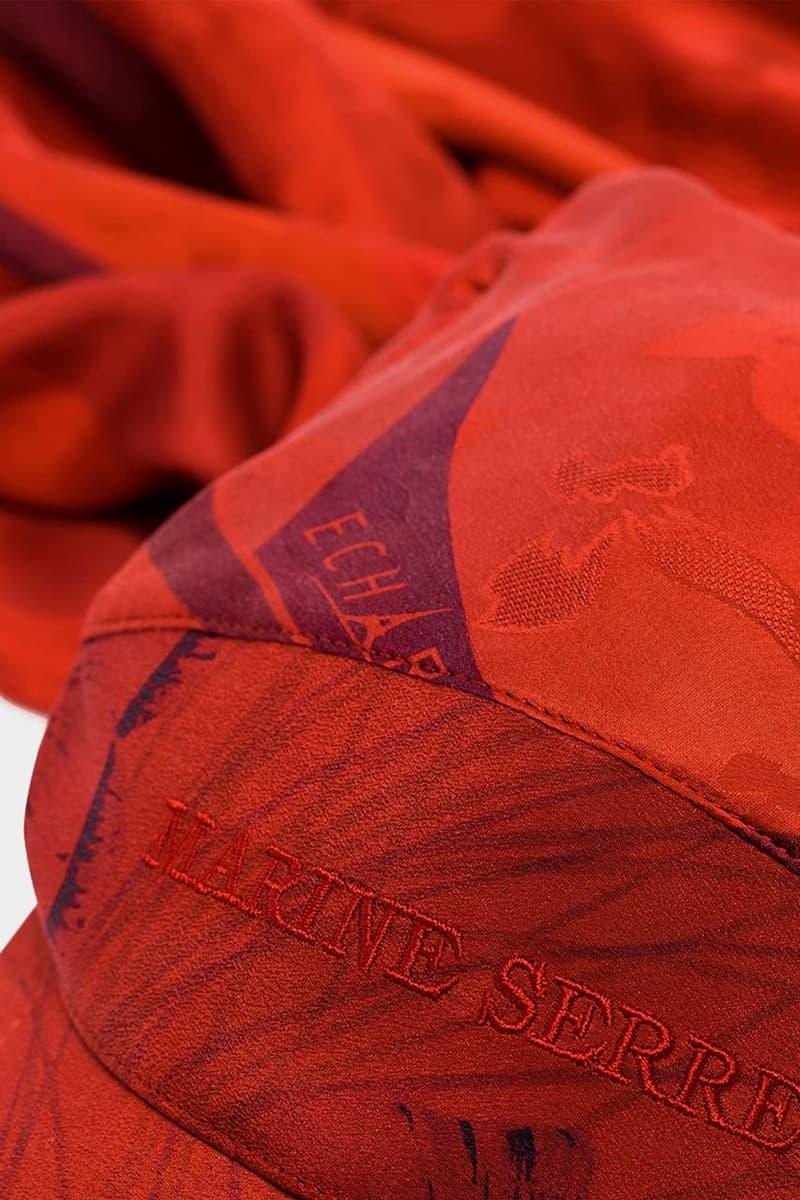 marine serre red flou embroidered logo silk cap spring summer 2020 ss20