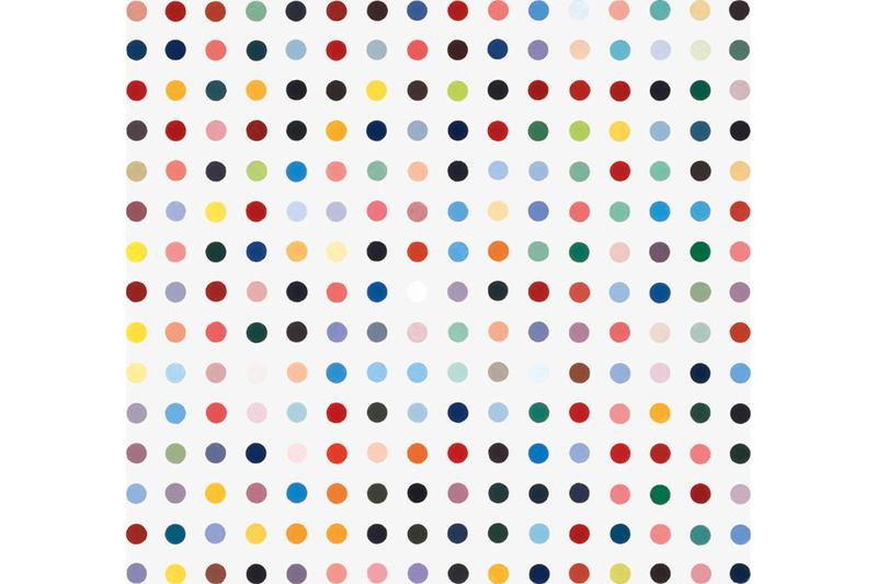 MSCHF 'Severed Spots' Project Damien Hirst Print Cut Up Dots Auction Rainbow Spot Painting 'Abalone Acetone Powder'