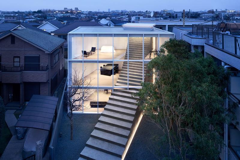 nendo Stairway House Design Shinjuku Tokyo Staircase Plants Steps Steel Concrete Windowless Facade White Black Furniture