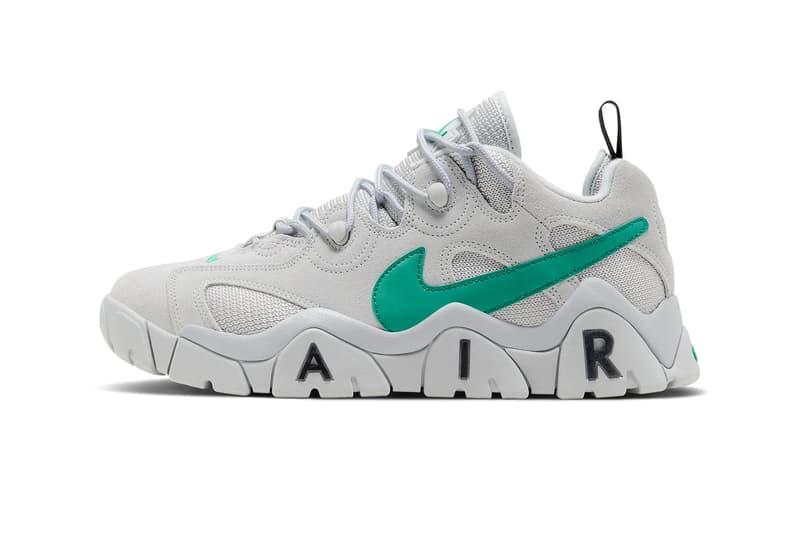 Nike Air Barrage Low Neptune Green Release Info CW3129-001 Buy Price Grey Fog Vast Grey