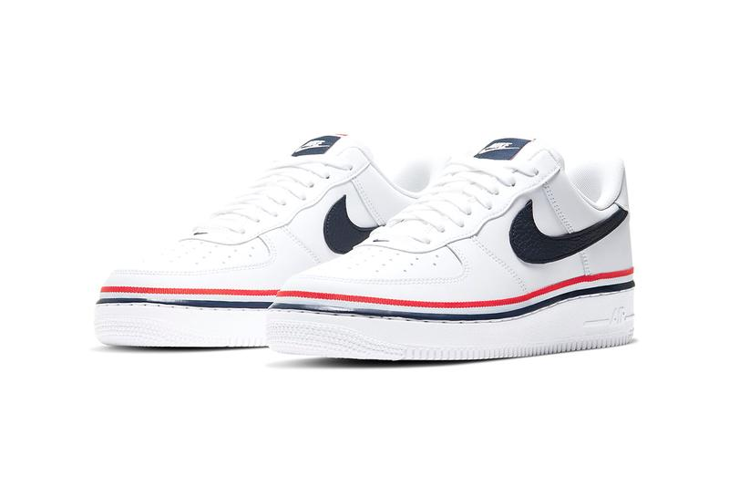 "Nike Air Force 1 '07 LV8 ""White/Habanero Red/Obsidian"" Preppy Three Colored Tricolor Stripe Release Information Drop Date Swoosh AF1 White Sneakers Summer Kicks Ribbon Webbing Leather CJ1377-100"