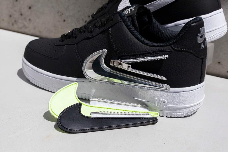 """Nike Air Force 1 '07 Premium """"Zip Swoosh"""" Release Information First Look Removable Switch Customize Change Tick AF1 Black White Red White Neon Yellow Iridescent"""
