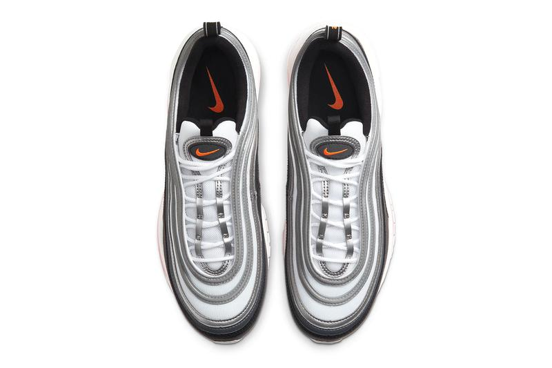 Nike Air Max 97 Metallic Silver Total Orange Release CW5419-101 sneakers kicks footwear swoosh air max