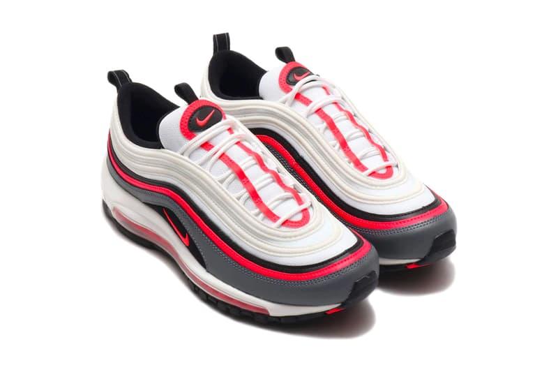 Nike Air Max 97 White Laser Crimson BLACK SMOKE GREY menswear streetwear sneakers footwear shoes trainers runners spring summer 2020 collection swoosh cw5419 100
