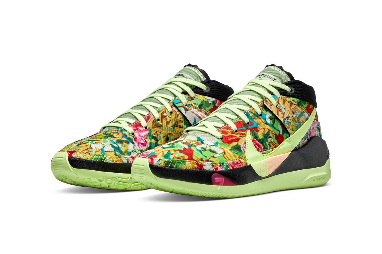 nike basketball kd 13 nba 2k 20 funk kevin durant ge gamer exclusive black green flower chain release date info photos price
