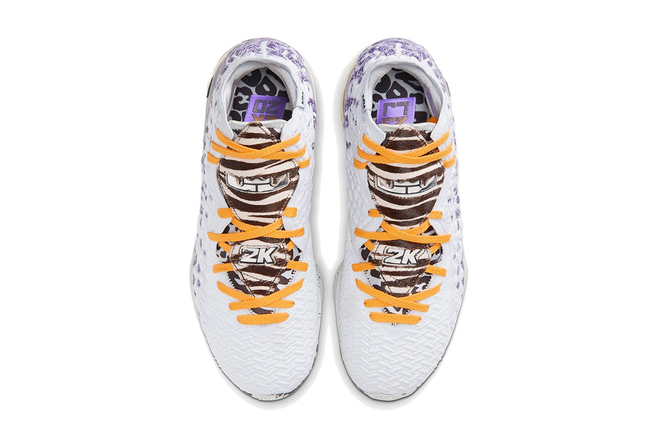 nike lebron james 17 bron nba 2k20 playoffs lakers white black purple animal print release date info photos price