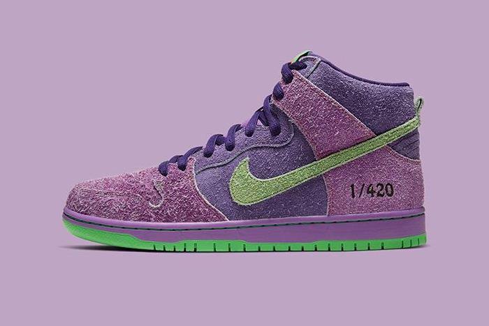 Nike SB Dunk High Pro QS 420 First Look Release Info Skunk Purple Green