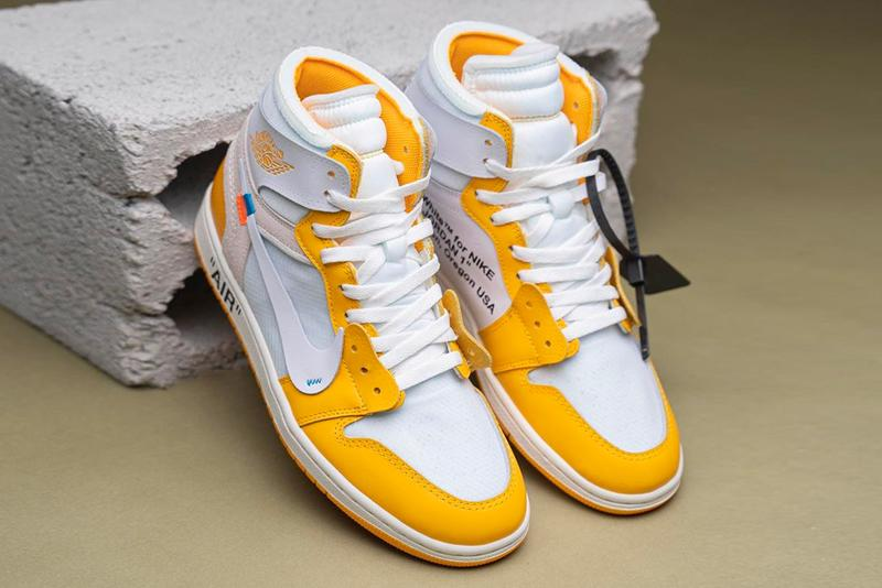 Off White Air Jordan 1 Canary Yellow Detailed Look Info Buy Price Date Virgil Abloh on feet