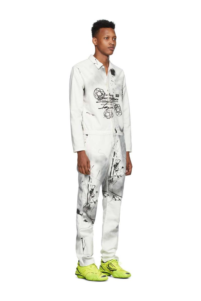 futura 2000 off white boiler jumpsuit long sleeve cotton ss20 spring summer 2020 collaboration release paint splatter