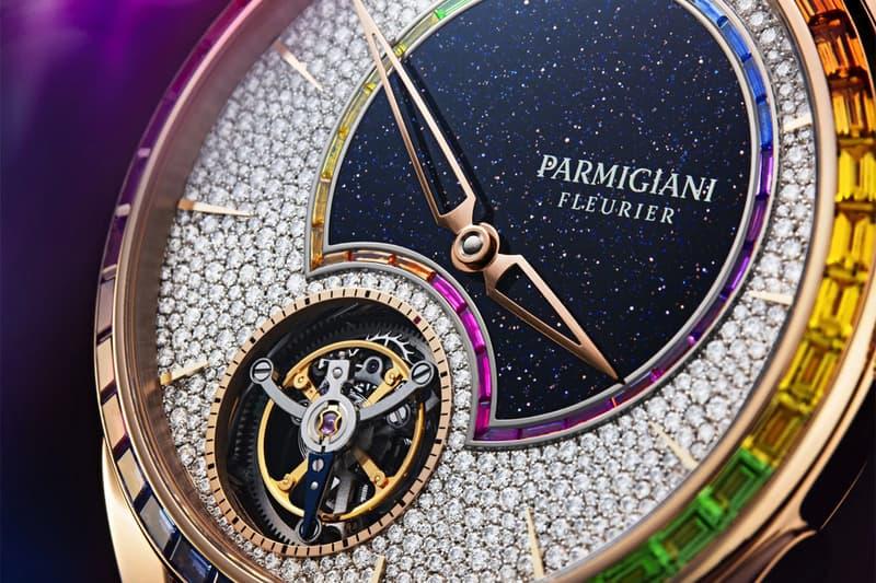 parmigiani fleurier tonda 1950 tourbillon double rainbow sapphires diamonds hermes strap watches accessories