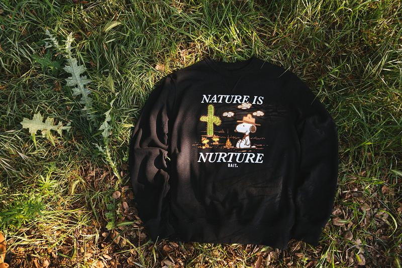 """'Peanuts' x BAIT """"Earth Day"""" Sustainable Capsule Upcycle LA Los Angeles Sustainability Upcycling Collection Lookbooks Environmental Protection Carbon Footprint Snoopy Recycling Old Plastic Bottles Reclaimed T-Shirt Cotton Fabric Materials"""