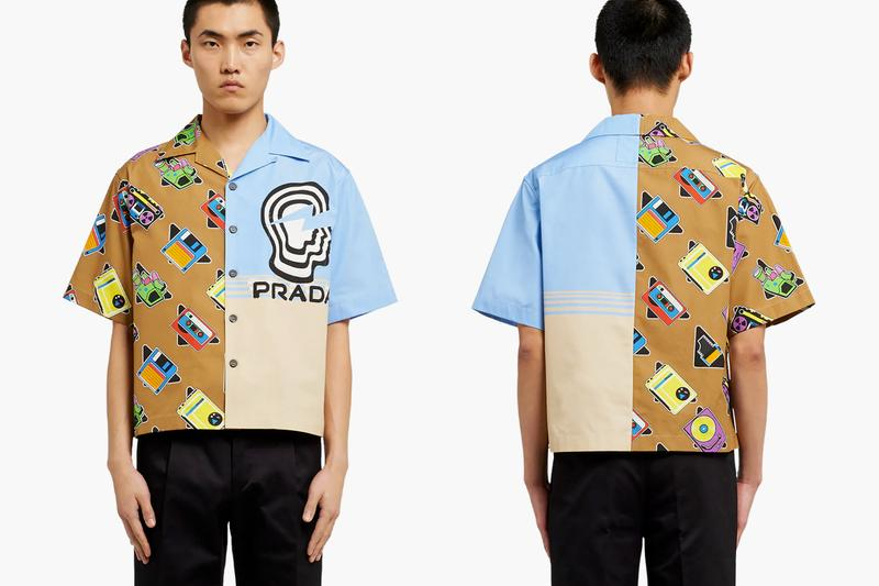 Prada SS20 Double Match Bowling Shirts Release Info drop price w2c cassette player floppy disk drive retrofuturistic vintage graphics logo
