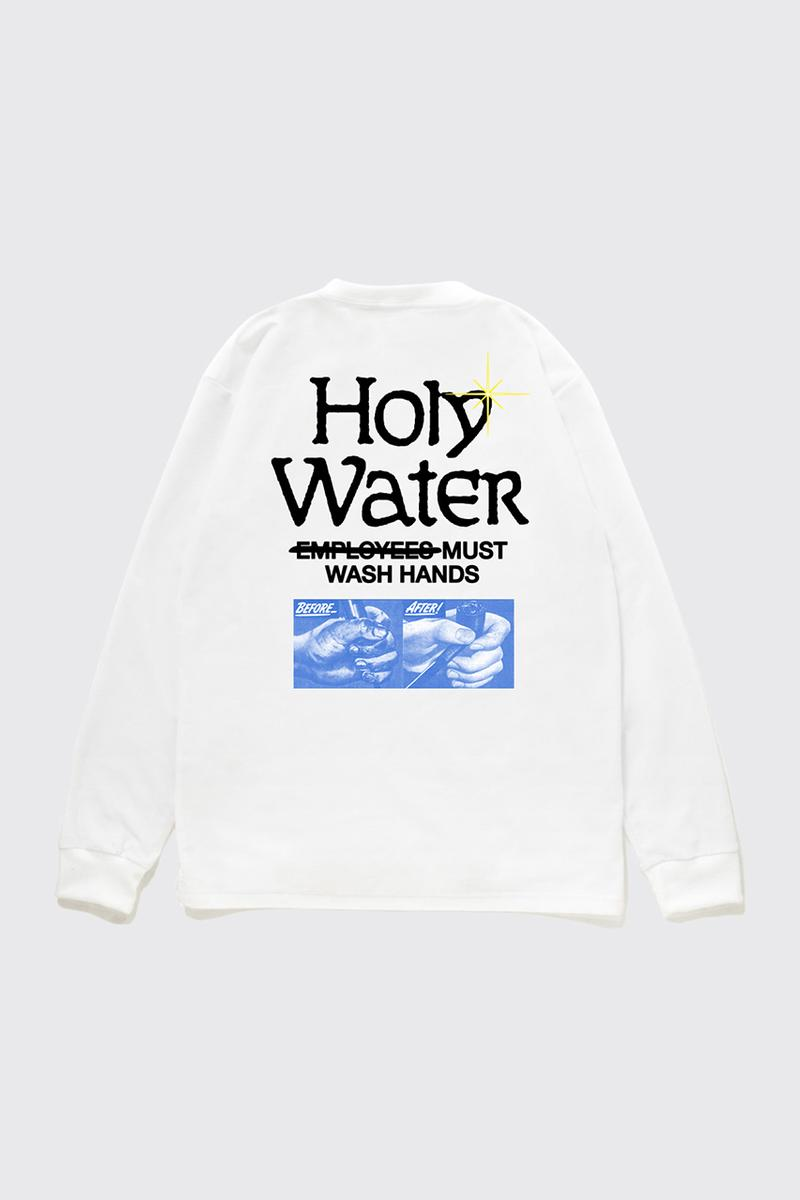 reception clothing france holy water t-shirt longsleeve wash your hands coronavirus covid 19 world health organization charity