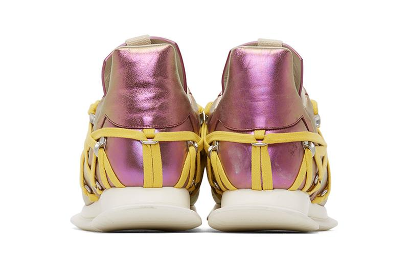 Rick Owens Pink Maximal Runner Sneakers irise iris colorway ss20 spring summer 2020 iridescent yellow laces
