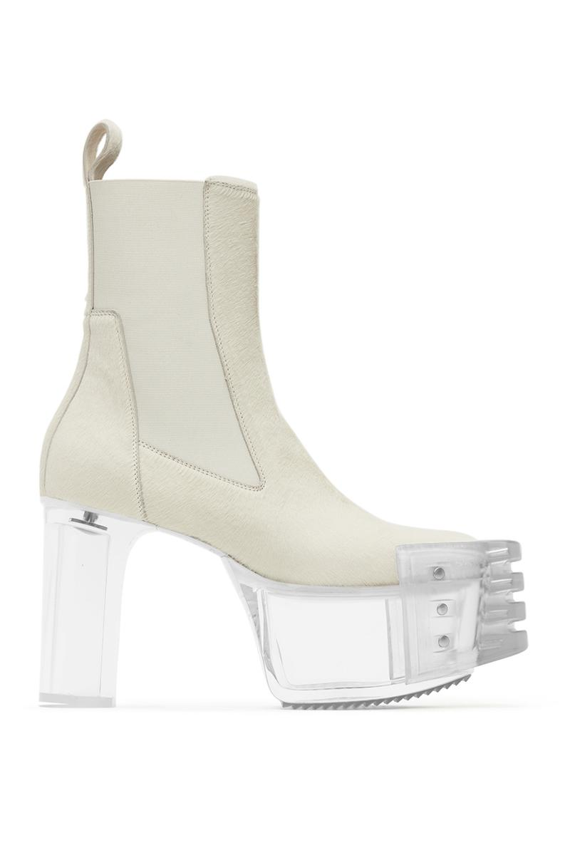 Rick Owens White Grill Kiss Chelsea Boots menswear streetwear spring summer 2020 collection designer shoes footwear boots high heels gender fluid sneakers leather made in italy