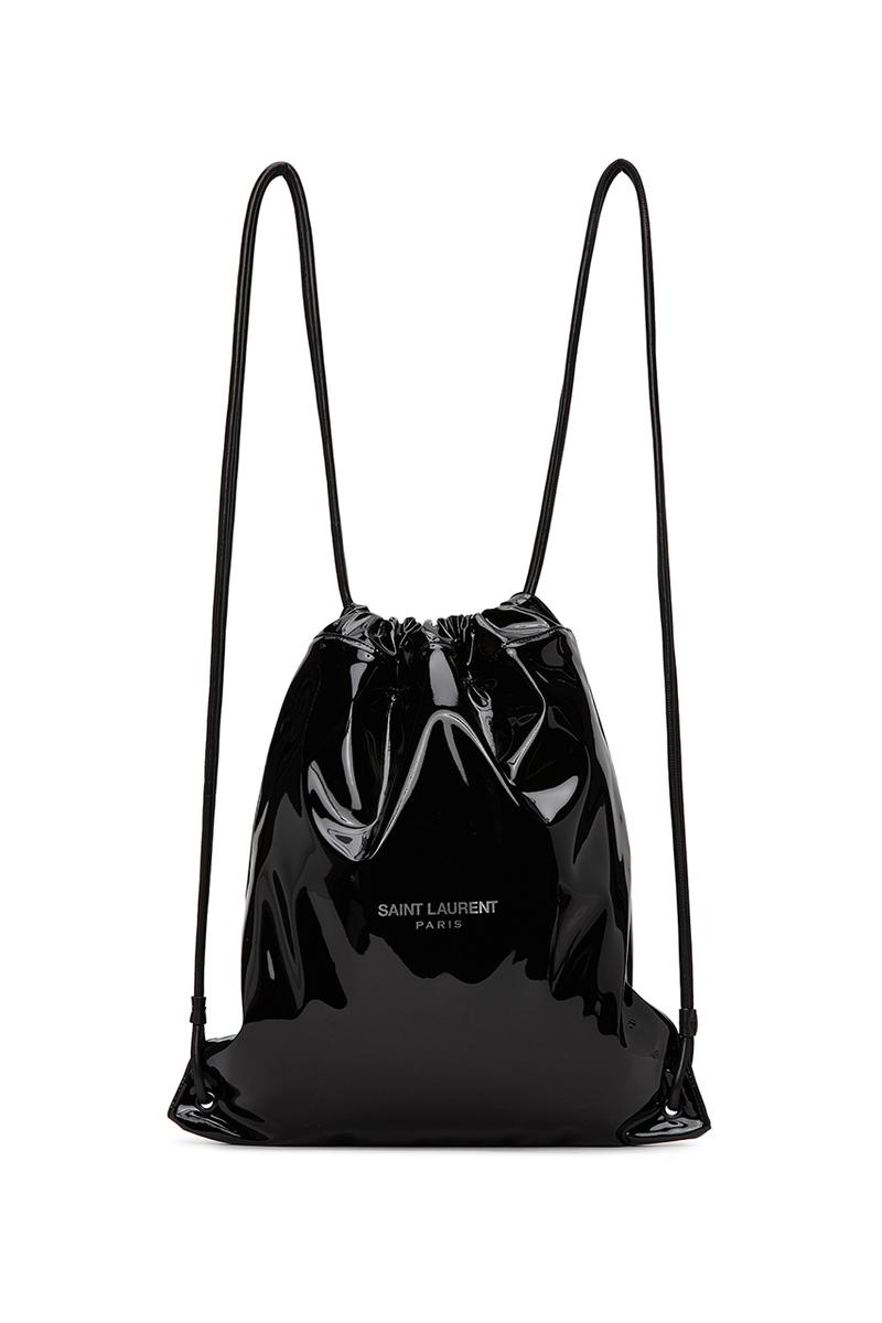 Saint Laurent Black Teddy Backpack Release Information Sportswear Inspired Carrying Options Bags Patent Lambskin Drawstring Zipper Interior Pocket Silver Tone Branding YSL Anthony Vaccarello