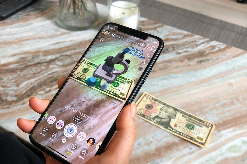 Snapchat COVID-19 WHO Donation AR Experience Launch  apps mobile AR technology