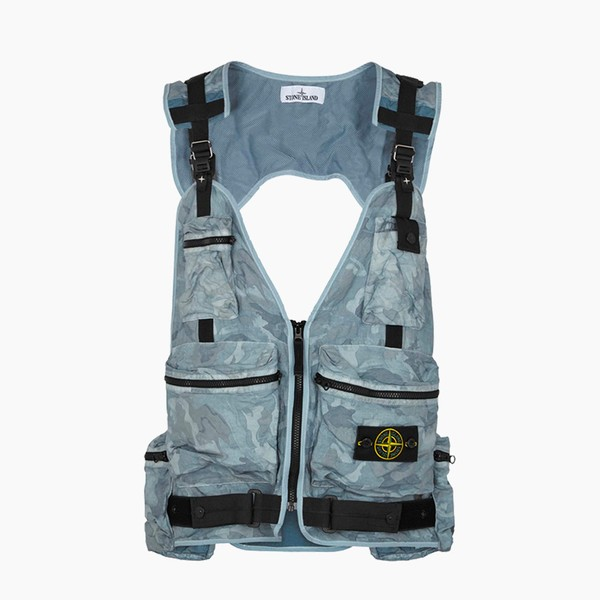 Stone Island Blue Camouflage Chest Bag