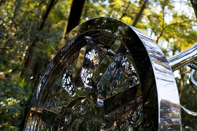 Tomokazu Matsuyama 'Wheels of Fortune' Meiji Shrine Meiji Jingu Forest Festival of Art Art Powers Japan Deer Stainless Steel Car Wheel