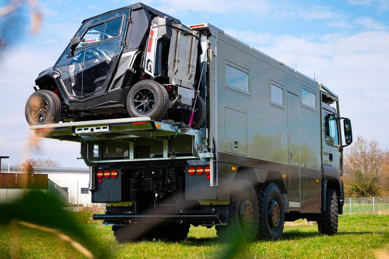 Unicat 1.5 million USD MD56c Mobile Command Center expedition vehicle 27 feet long three point kinematic system solar array charging battery pack