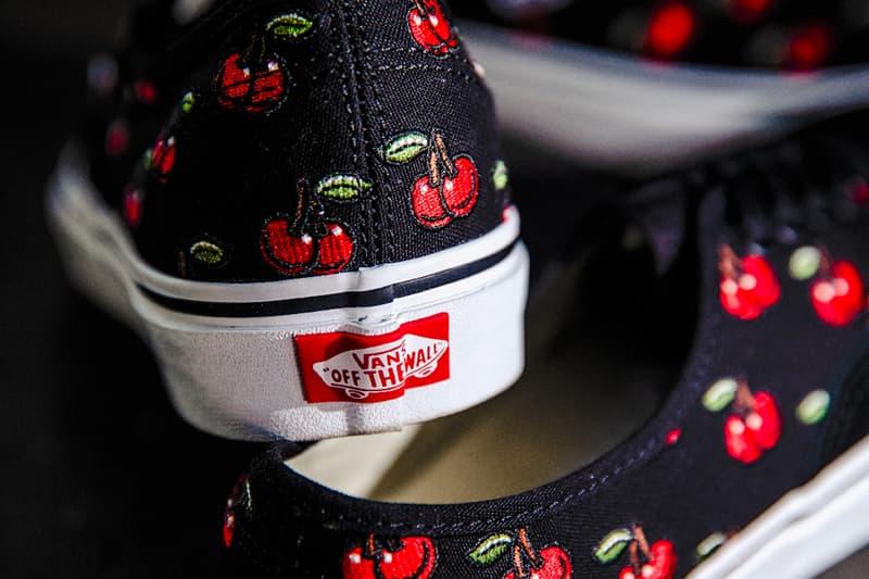Vans Authentic Slip On Cherry black menswear streetwear footwear shoes slides sneakers kicks trainers runners skateboarding skate shoes spring summer 2020 collection billys exclusive embroidery
