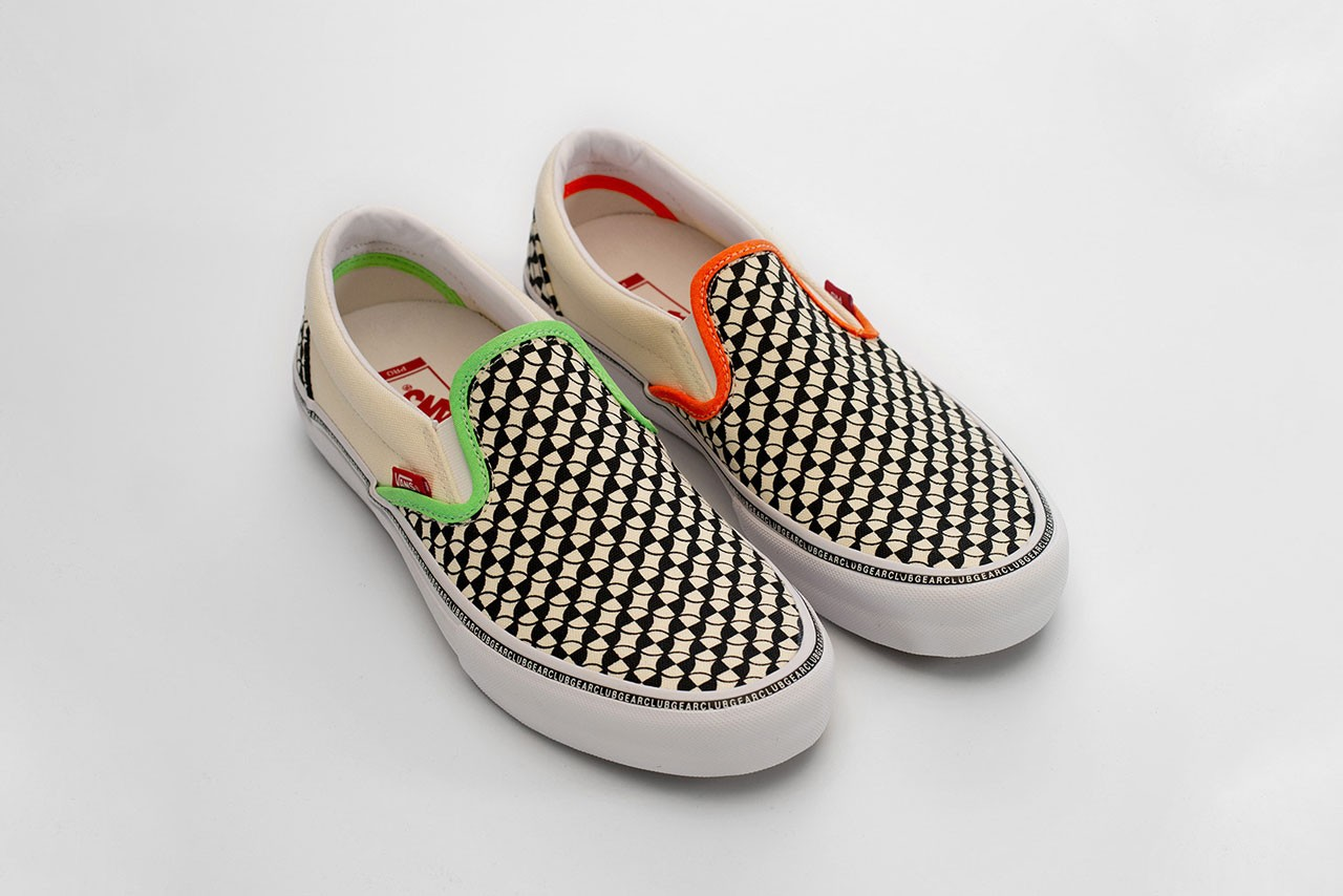 CLUBGEAR x Vans Rave 90s Era Pro and Slip-On Pro Neon Checkerboard Pattern Green Orange Yellow Red Crosshair Mismatched