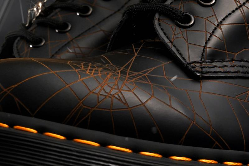yohji yamamot dr martens 1460 remastered details buy cop purchase spider web graphic laser cut print black leather boot