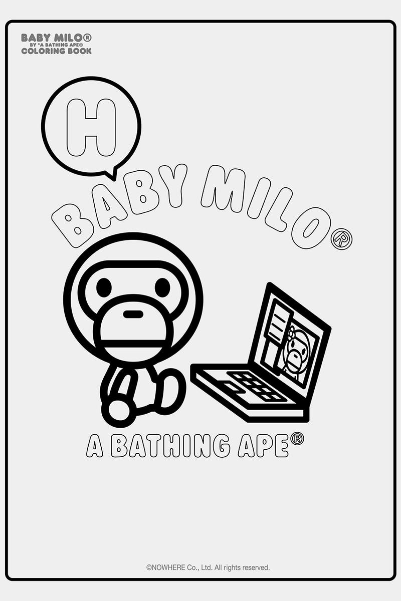 """A BATHING APE Baby Milo Coloring Book BAPE Productivity COVID-19 Coronavirus Self Isolation Quarantine Hobbies What to Do Drawing Art Skills Practice Download """"Stay Home"""" Healthcare Workers iPad Tablet"""