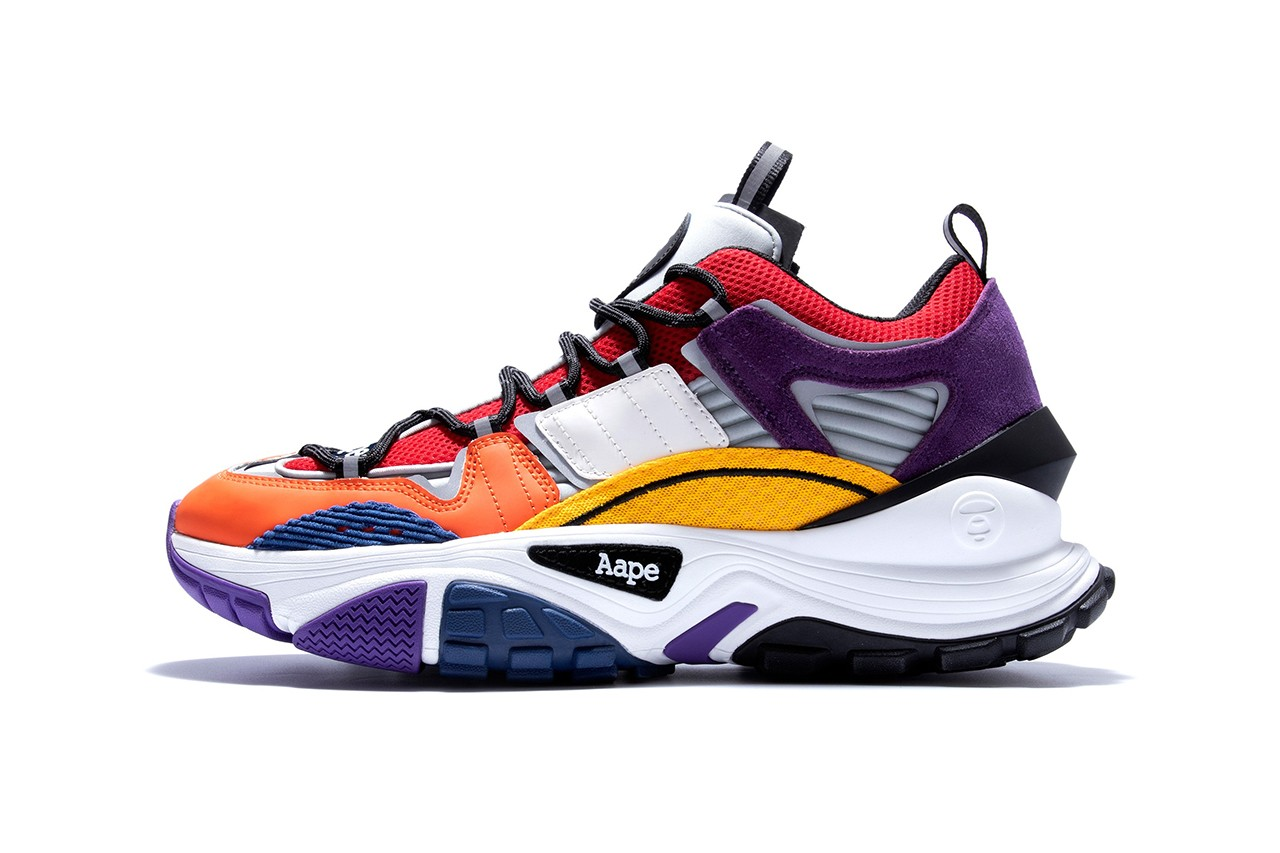 AAPE by A BATHING APE Dimension Sneakers Release Information First Look Footwear Japan Drop Multicolored Shoe Chunky BAPE Head