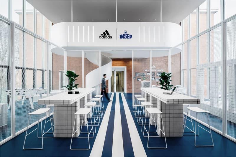 adidas INSEP Space Ubalt Architectes Design National Institute of Sport Expertise, and Performance Architecture Blue White Tiles Athletes Living House  paris france training facity gym