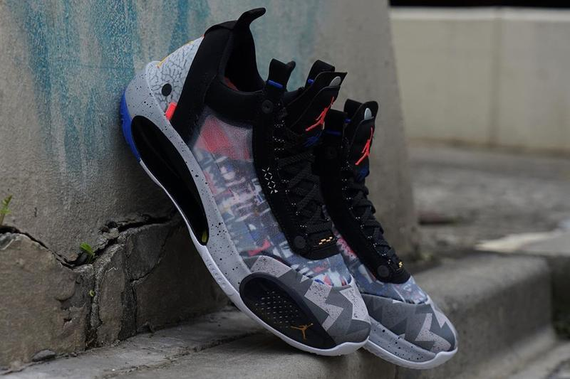 air jordan brand 34 low black grey blue red yellow elephant CZ7746 008 official release date info photos price store list