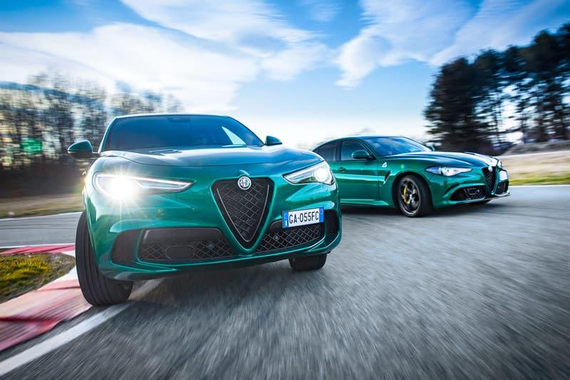 Alfa Romeo Giulia and Stelvio QF Montreal Green paint job europe exclusive fiat 2020 2021 SUV four-door sedan