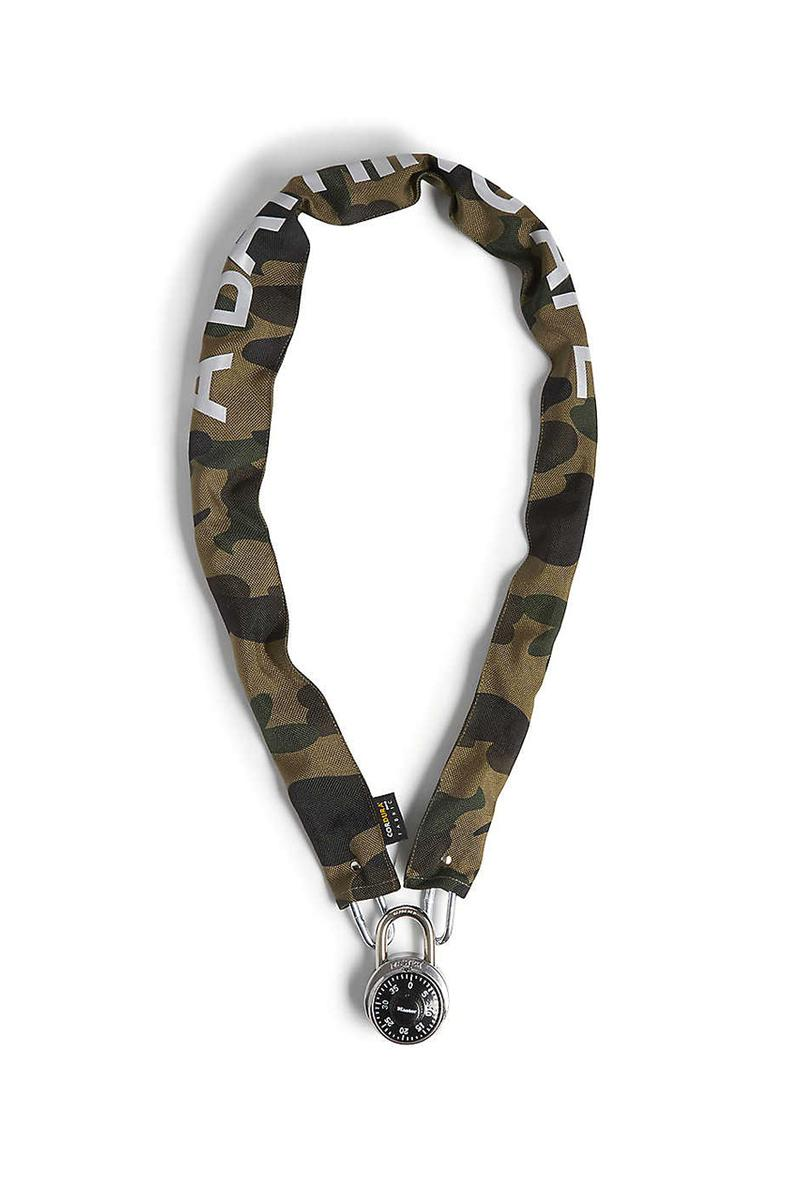a bathing ape bape camouflage chain lock green yellow canvas metal