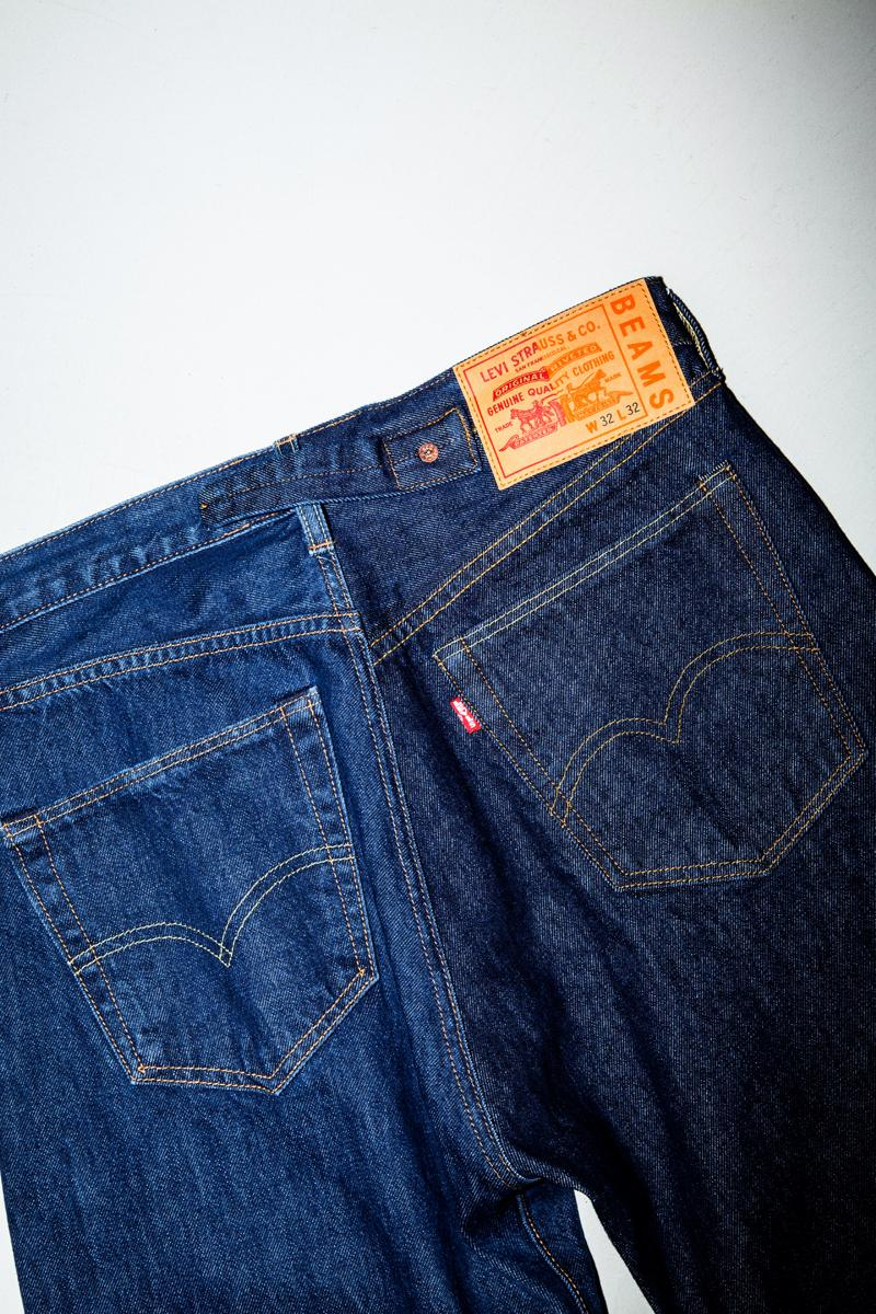 BEAMS x Levi's Half & Half Collection Release Denim Jacket 501 Jeans T-Shirt Logo Horses Denim Wash Blue
