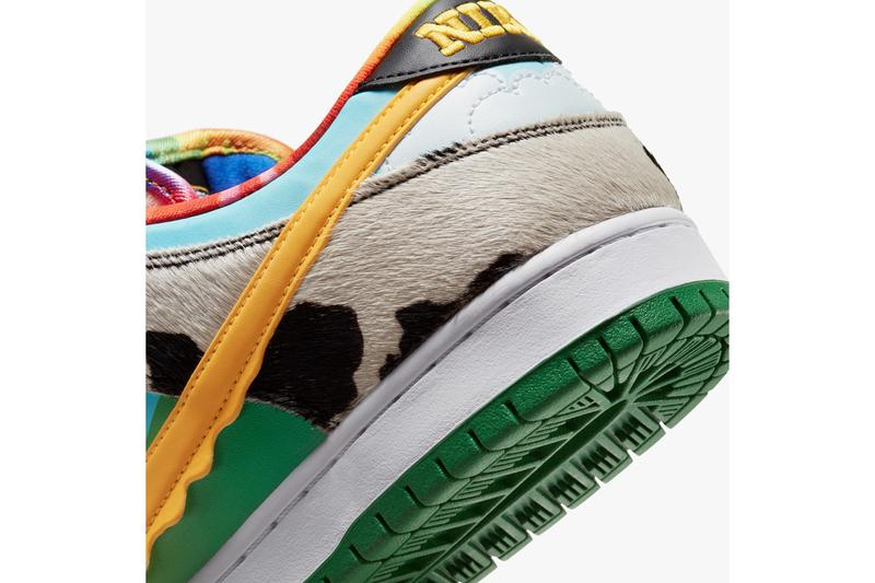 nike sb dunk low ben and jerrys chunky dunky ice cream CU3244 100 white university gold cow print light blue yellow tie dye green release date info photos price store list