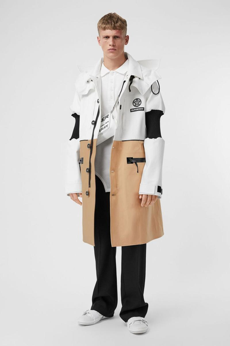 Burberry Reconstructed Car Coat Release Detachable Hood Cotton Twill Victorian Corsetry Panels White Brown Black