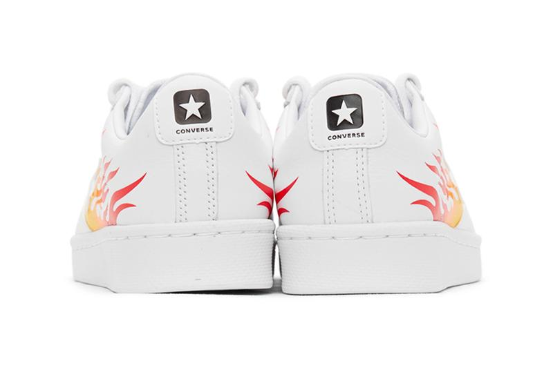 Converse Pro Leather OX White Flame menswear streetwear shoes sneakers leather red yellow bold motif print highlight trainers runners tennis perforation nike ssense flaming fiery fire all star