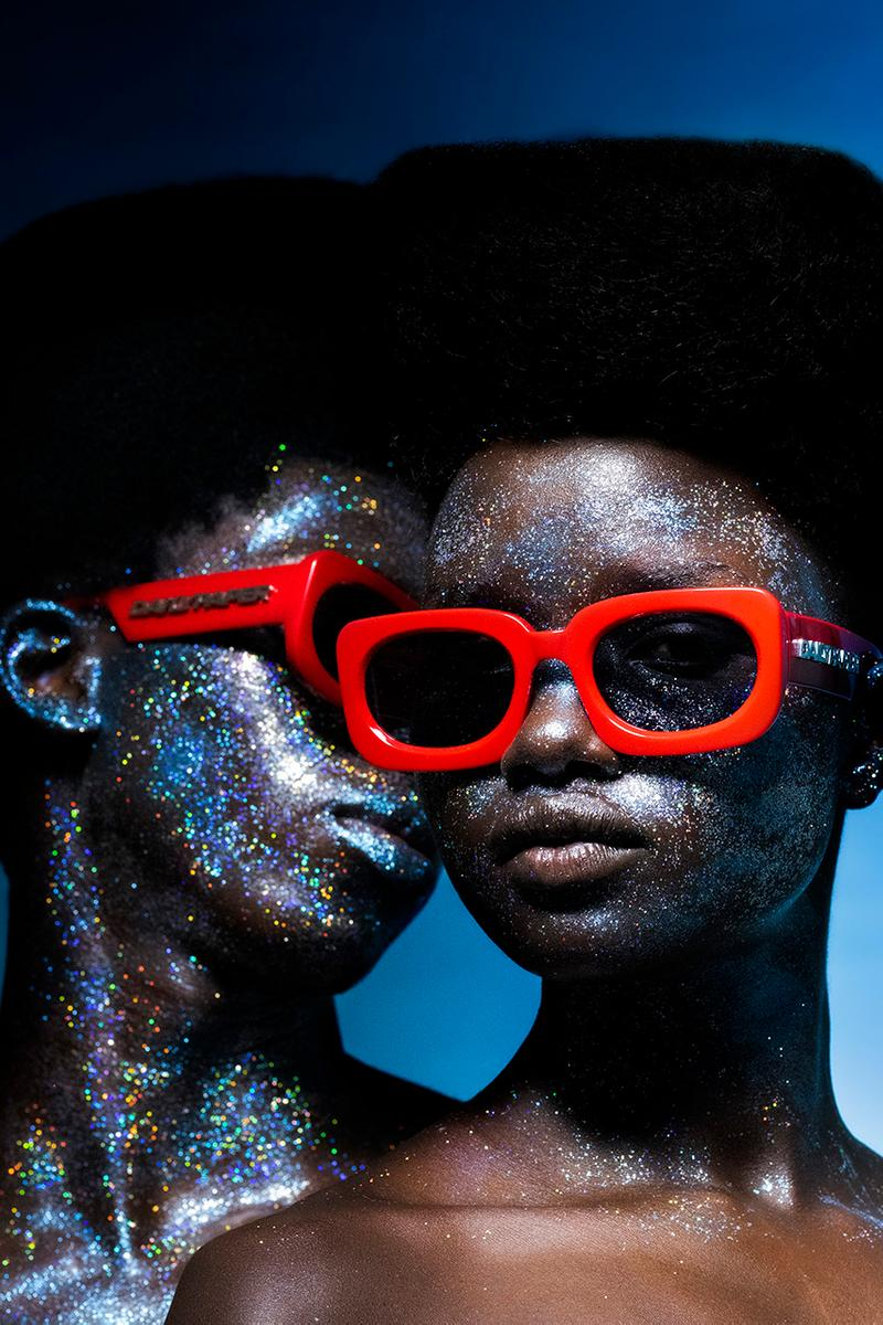 Daily Paper x KOMONO Sunglasses Collection Collaboration Eyewear First Look Campaign Lookbook Ottilie Landmark Contemporary Design 100% UV protection Black Tortoise Racing Red