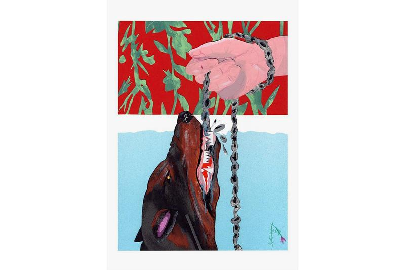 David Heo 'Stay. Stay In Place' Print With DROOL Dog Chain Leash Collage Paper