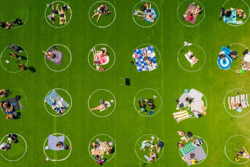Brooklyn's Domino Park Social Distancing Circles Design Painted Covid 19 Coronavirus