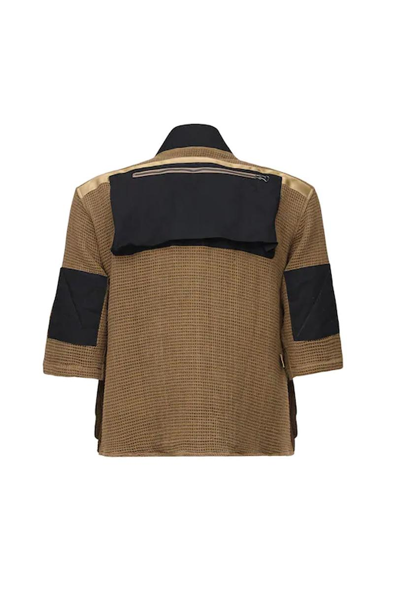 elhaus vagabond multi pocket utility jacket black green shawl lapels three quarter length sleeves adjustable front buckle closure