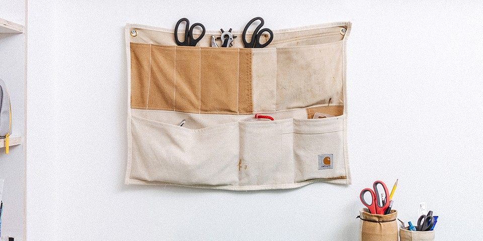 Greater Goods Crafts Wall Organizers From Upcycled Carhartt Dungarees and Boiler Suits