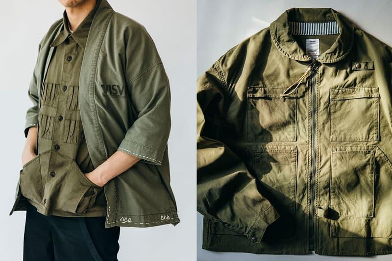 HAVEN visvim Spring Summer 2020 Editorial workwear menswear army green short kimono rounded collar