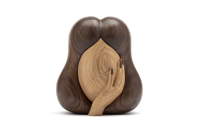 Julie Curtiss 'La Femme Secrète' for Case Studyo Art Puzzle Box Sculpture Homeware Design Artworks Woman Face Head Hair Wooden Walnut Ash Wood Tiny Treasure Chest