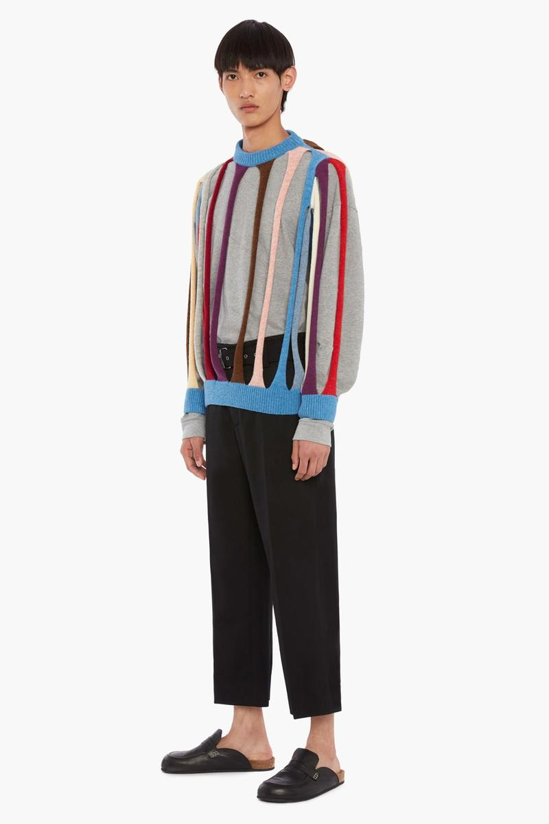 jw anderson tubular jumper cardigan deconstructed cutout cut outs spring summer 2020 collection runway show menswear made in italy virgin wool