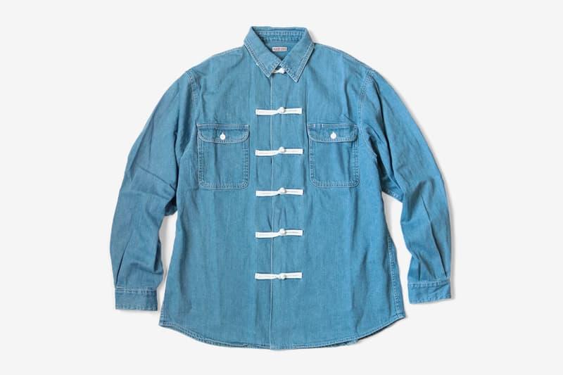 KAPITAL Blue Denim 8oz Kung Fu Shirt menswear streetwear spring summer 2020 collection coverall pink mao collar japanese button up chore jacket