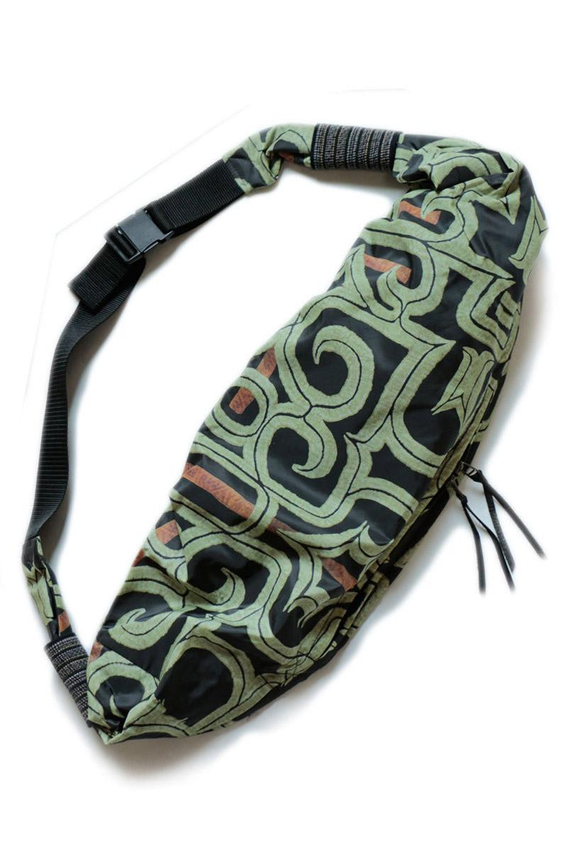 KAPITAL Transfer Nylon Snufkin Boro Bags Blue Green Indigo Patchwork Ainu Pattern Transcription Nylon
