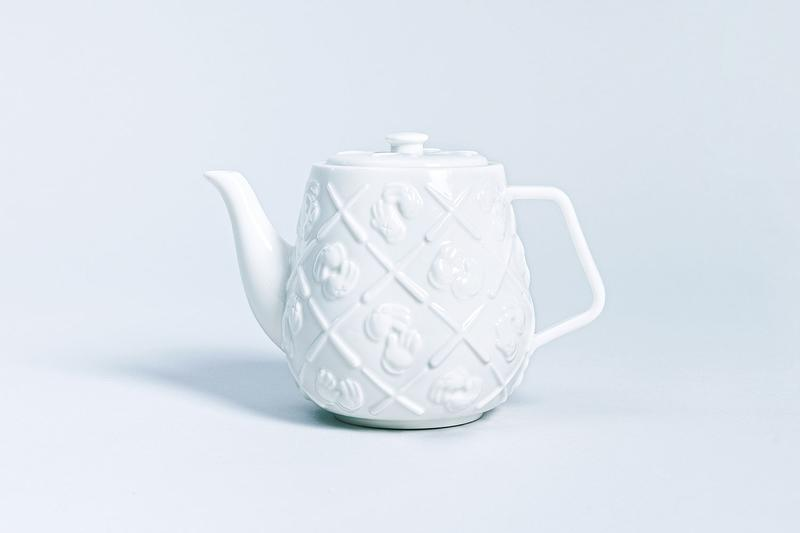 KAWS XX gloved hands Monogram Teapot AllRightsReserved collaboration ceramic white brew infusion