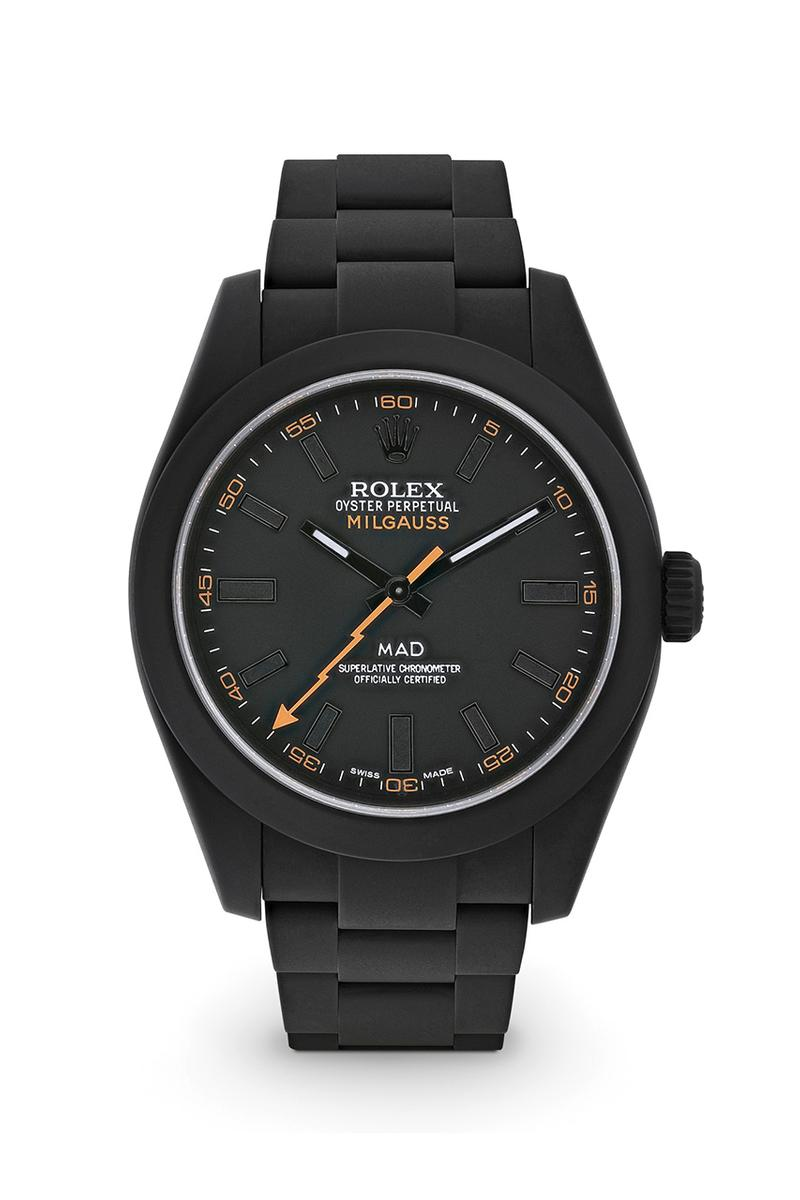 MAD Paris Rolex Sea-Dweller & Rolex Milgauss Ghost Dial With Orange Accents Watches Release Information Dover Street Market Custom Matte Timepieces Luxury Accessories Jewelry Mens