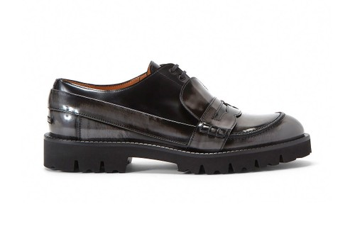Maison Margiela Drops Glossy Charcoal Fusion Lace-Up Loafers